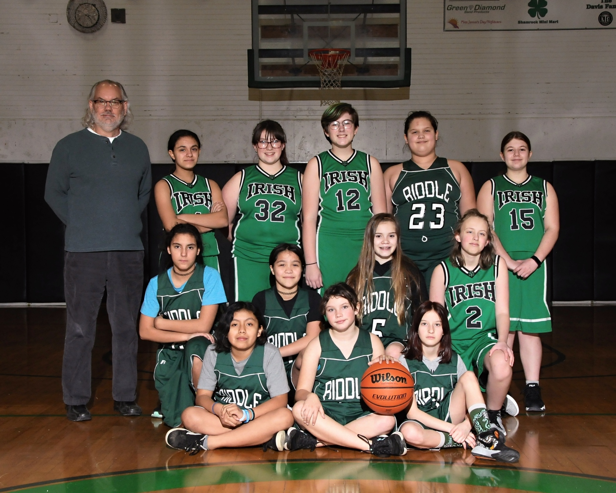Riddle Junior High School girls basketball team photo.