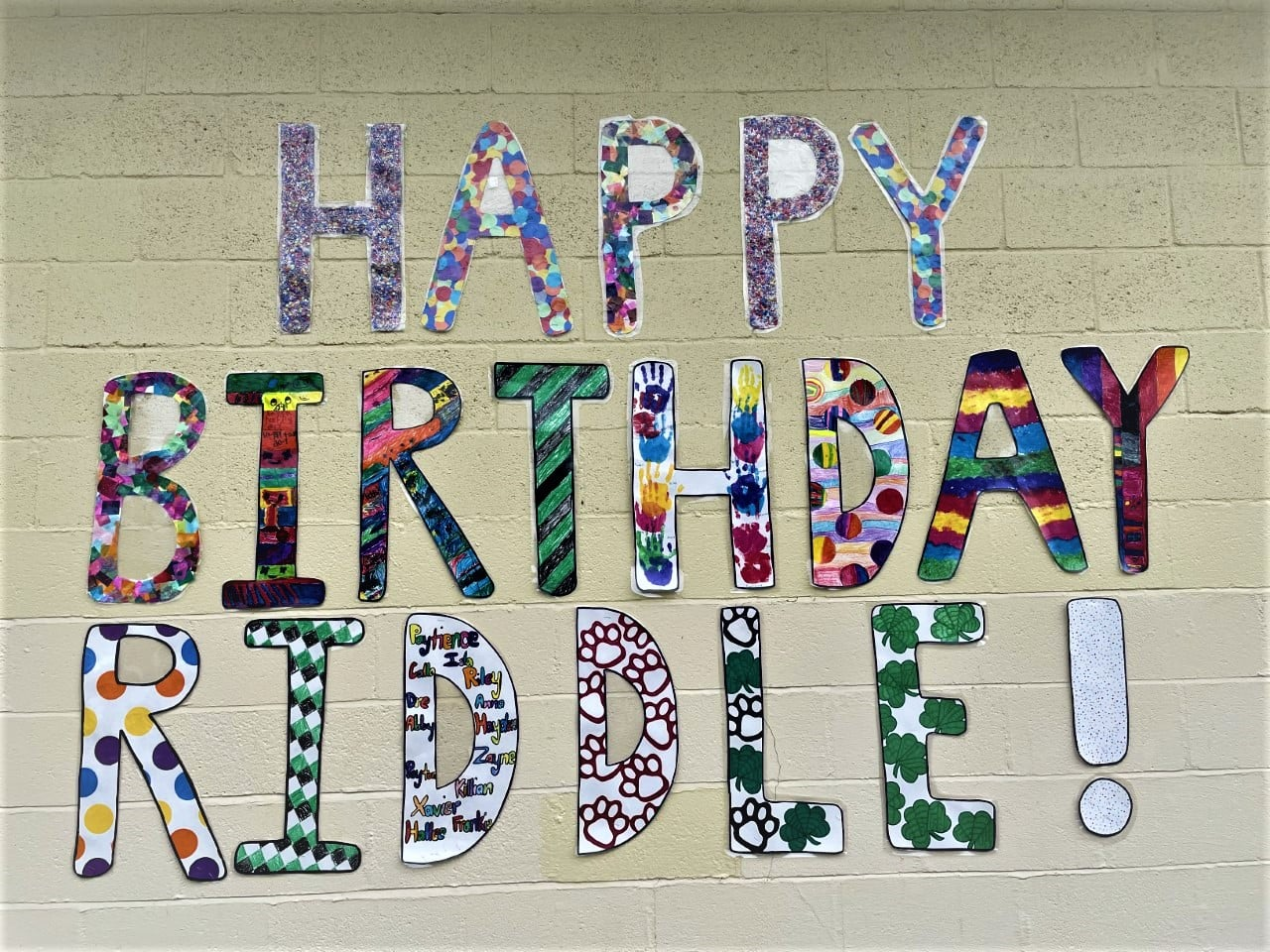 Happy Birthday Riddle artwork by K-2 students.