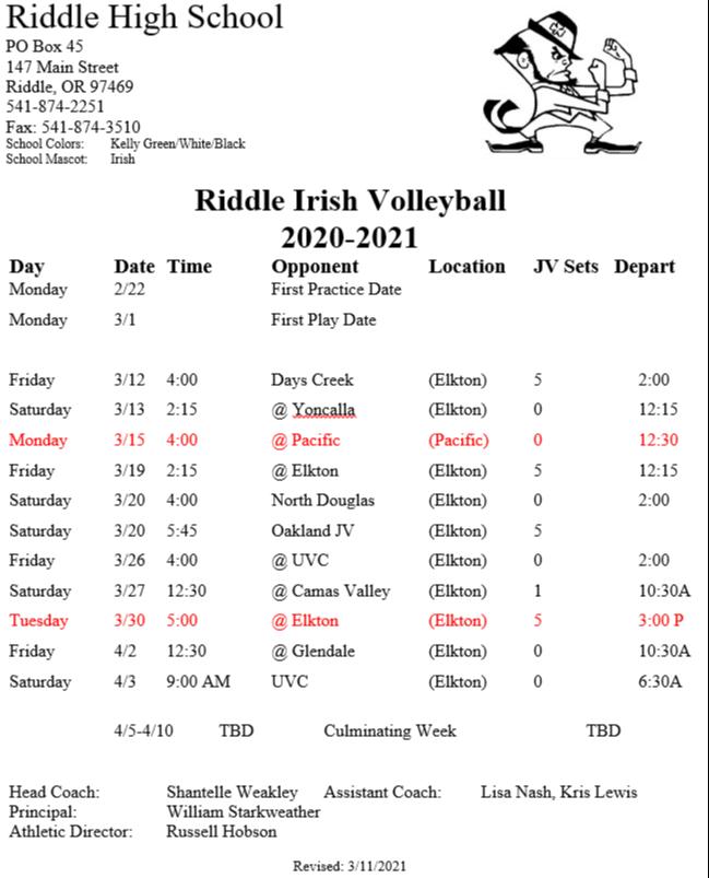 RHS volleyball schedule - updated March 11.