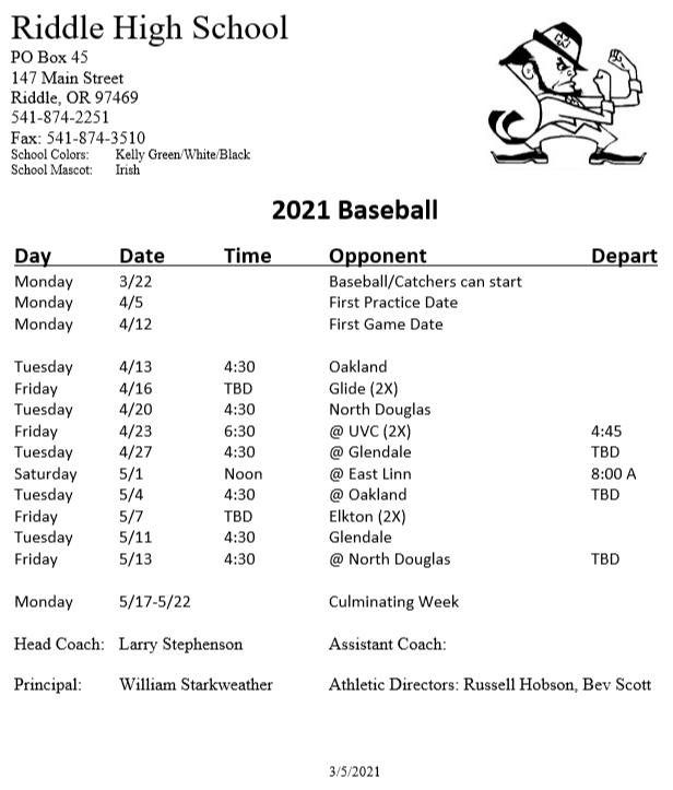 Riddle Baseball Schedule 2021