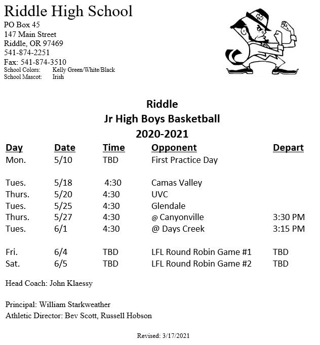 Junior High Boys Basketball Schedule