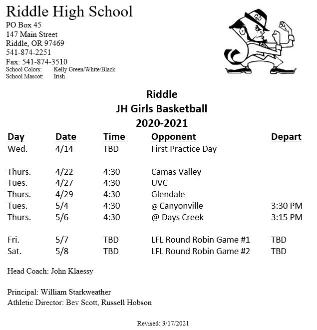 Junior High Girls Basketball Schedule