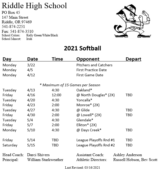 Softball schedule posted March 16 2021