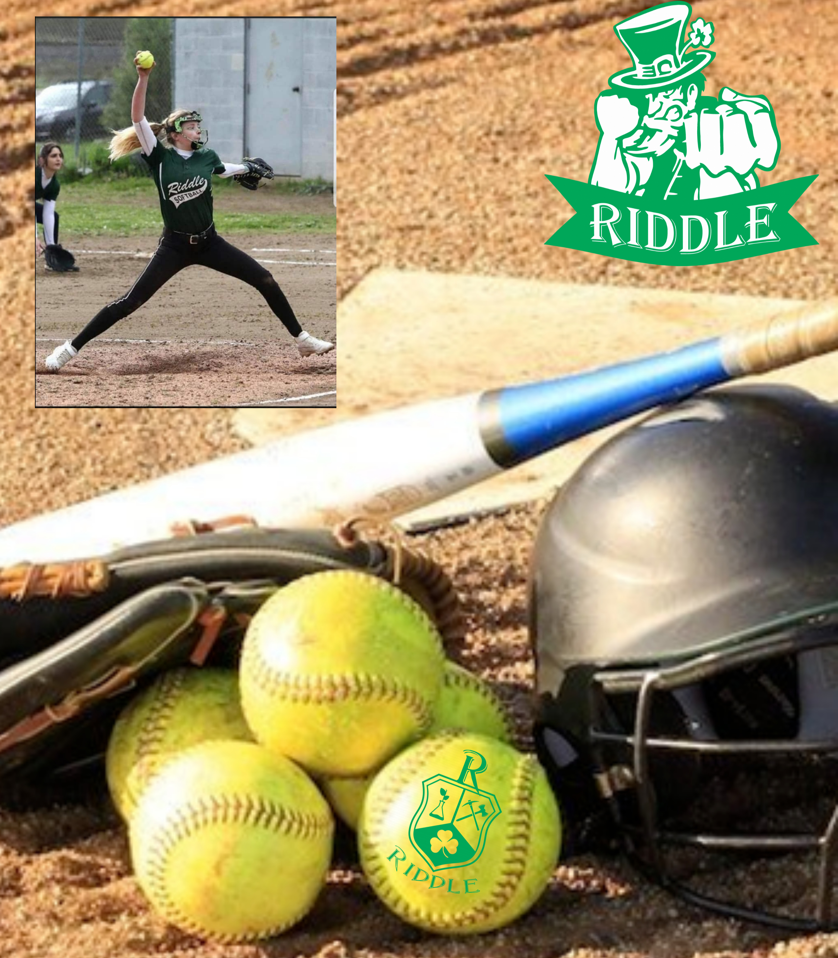 General Riddle Softball picture with balls, bat and helmet with a Riddle logo.