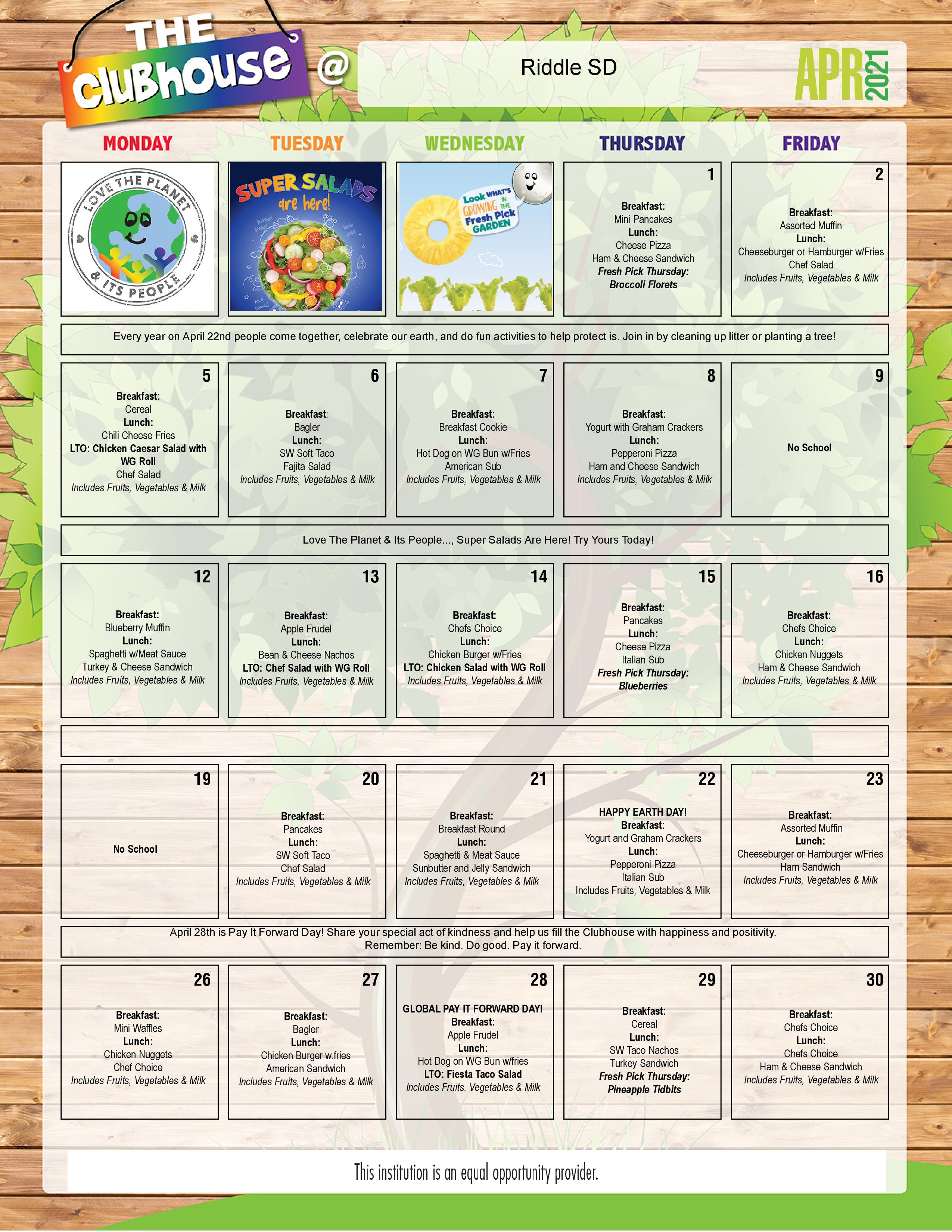 Riddle Menu for April, page 1  - Click to visit the daily dining options.