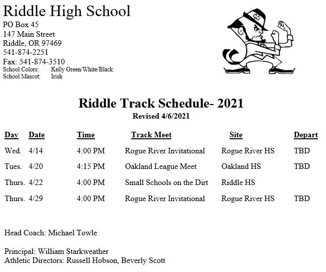 Riddle High School  Track Schedule