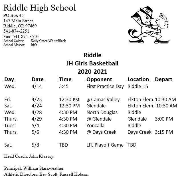 Junior High Girls Basketball Schedule Updated April 15