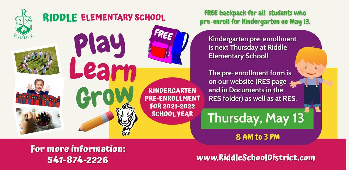 Kindergarten Pre-Enrollment is May 13.