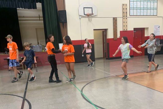 New Ventures Campers have fun in the gym!