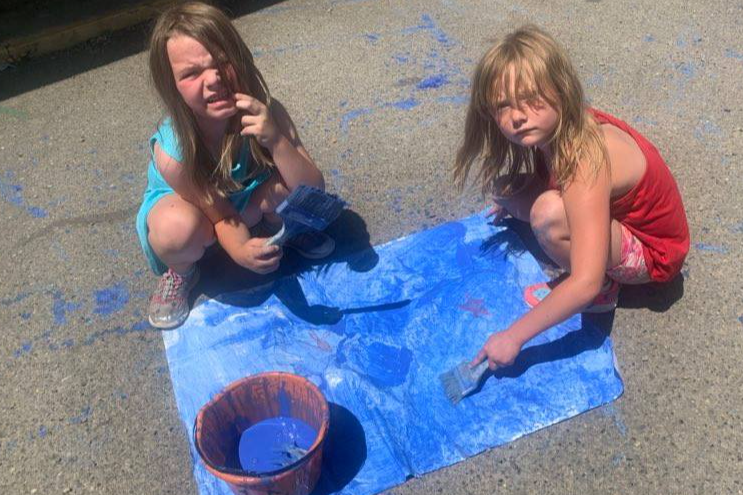 Having fun with paint and color and New Ventures camp!