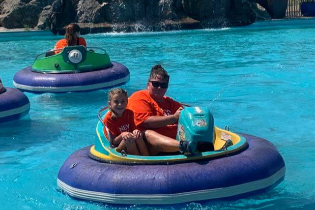 New Venture Campers have fun with the Bumper Boats!