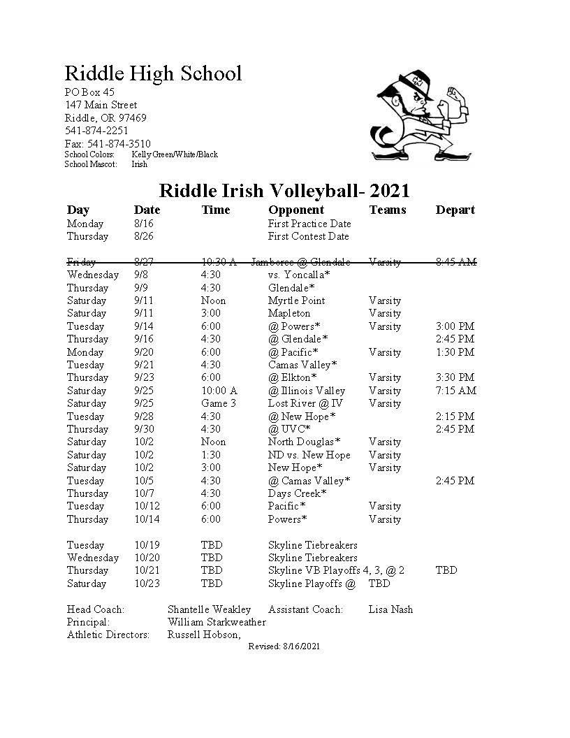 Riddle HS Volleyball Schedule 2021