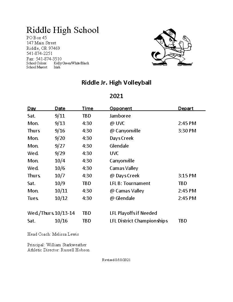 Riddle Junior High Schedule 2021