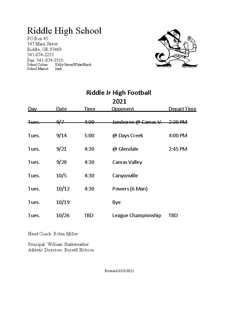 Riddle JH Football Schedule 2021