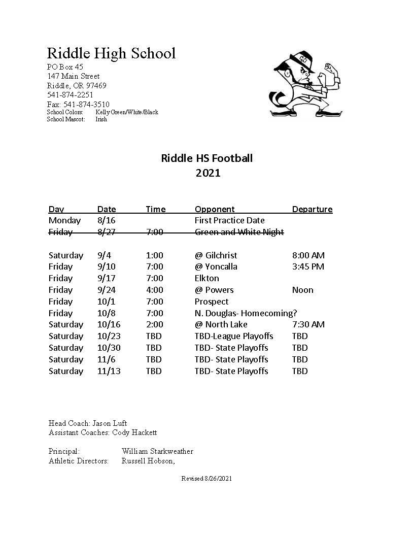 Riddle High School Football Schedule 2021