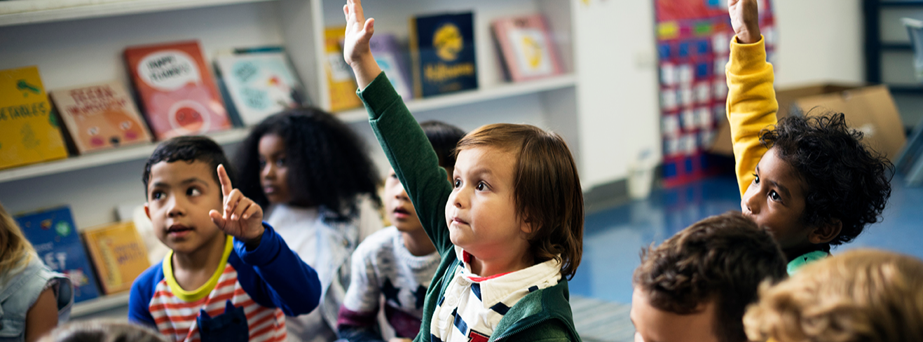 elementary students learning in the classroom