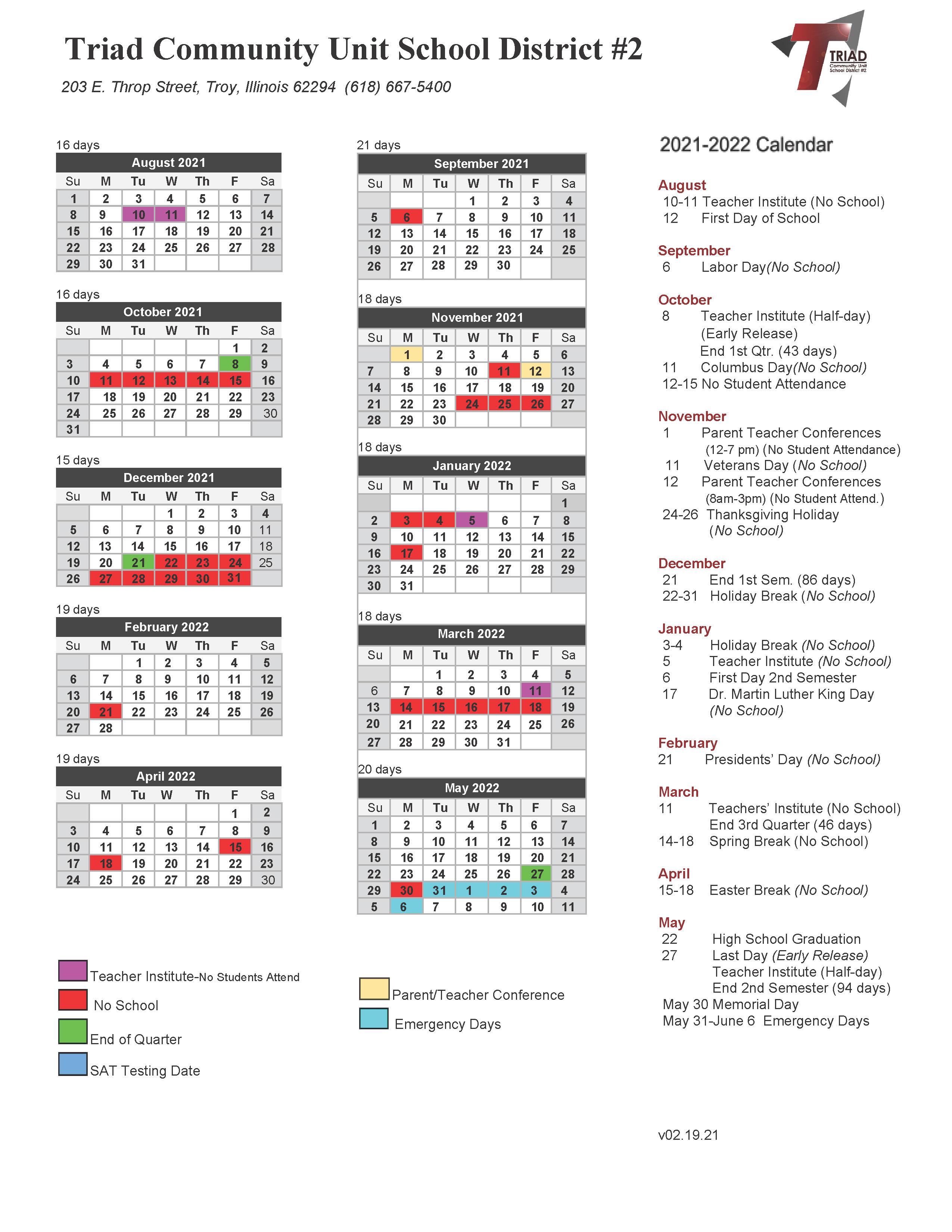 21-22 district calendar