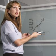 Teacher pointing to a whiteboard