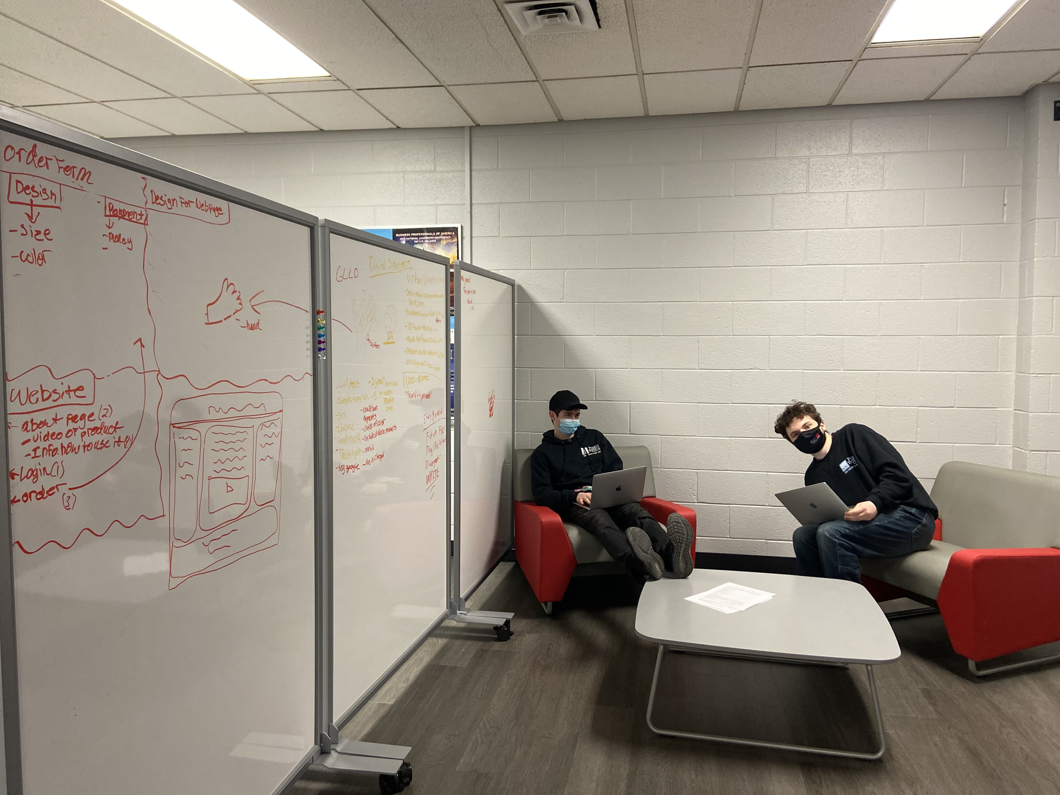 Students planning out their code