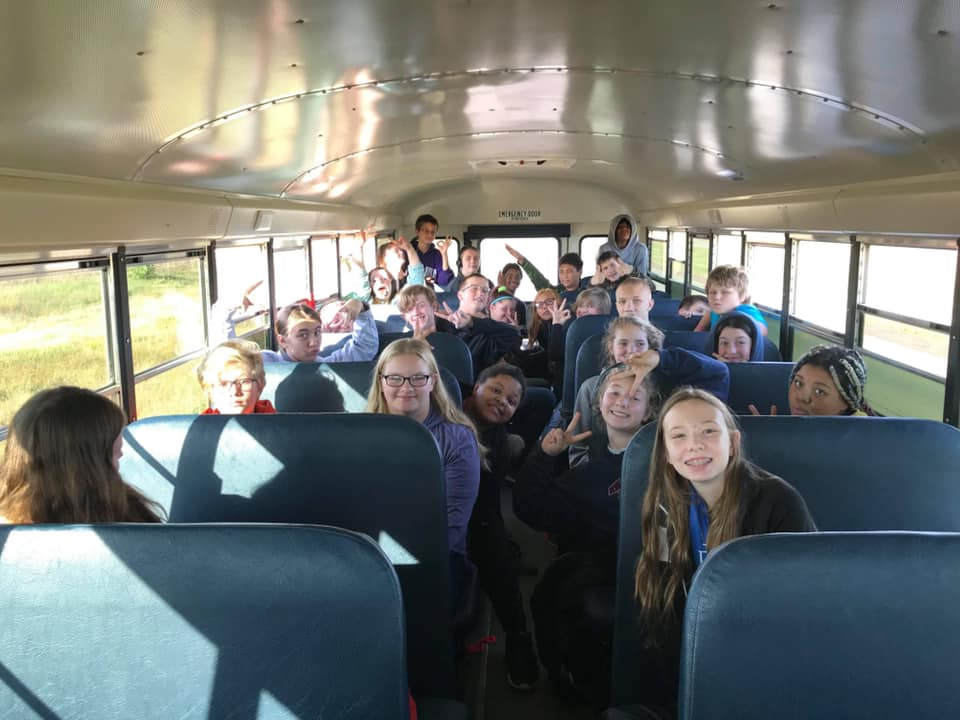 Middle School students on the bus