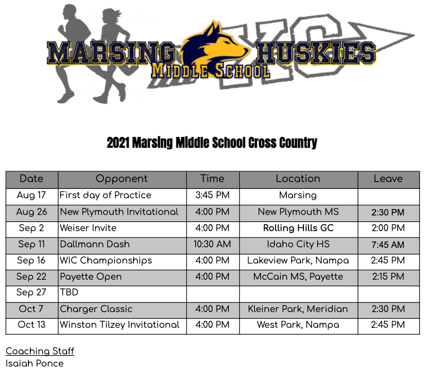 2021 MS Cross Country Schedule