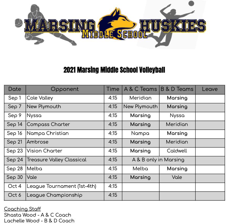 2021 MS Volleyball Schedule