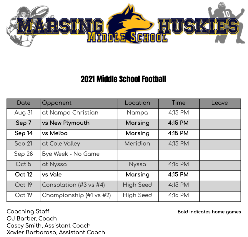 2021 MS Football Schedule