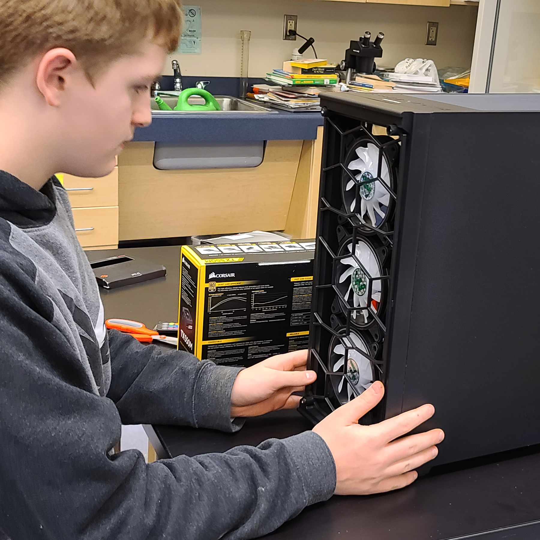 Student Building a Computer