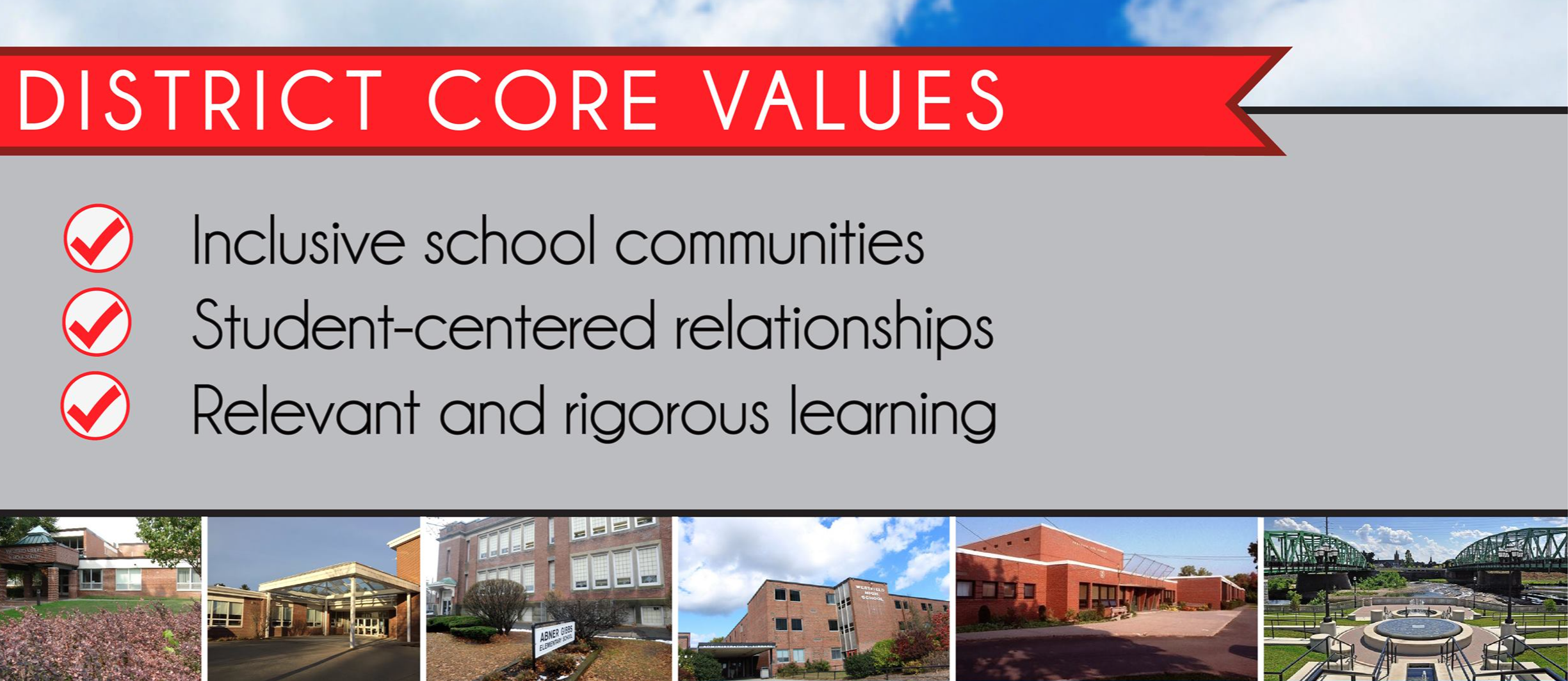 Westfield's district core values: inclusive school communities, student-centered relationships, relevant and rigorous learning