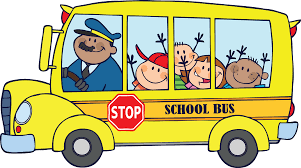 Cartoon bus image with driver and students