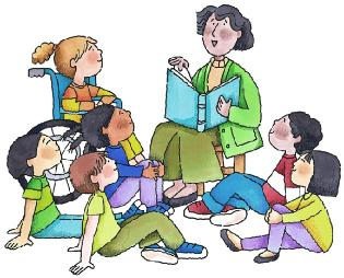 Drawing of teacher reading to students