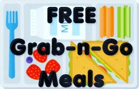 Image of food with words Free Grab-n-go Meals