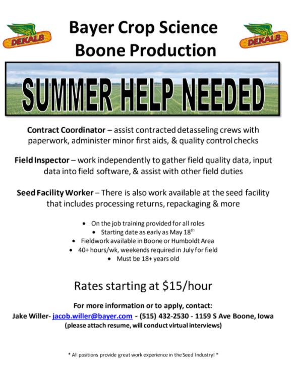 Summer Help Needed