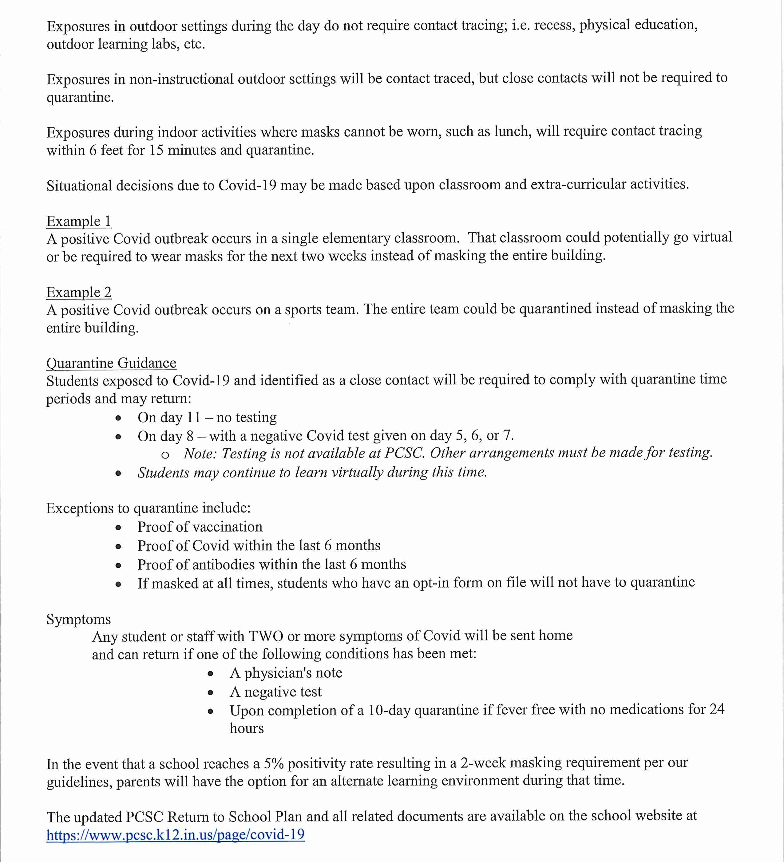 Covid Update letter, page 2