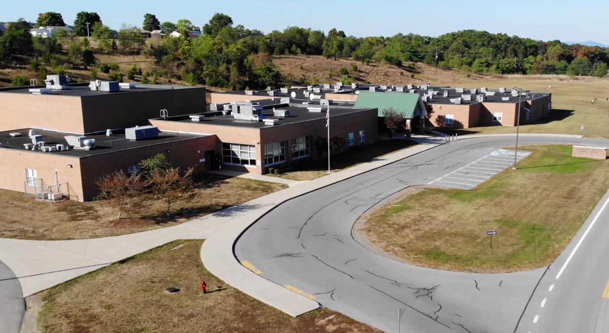 Drone footage of school from above