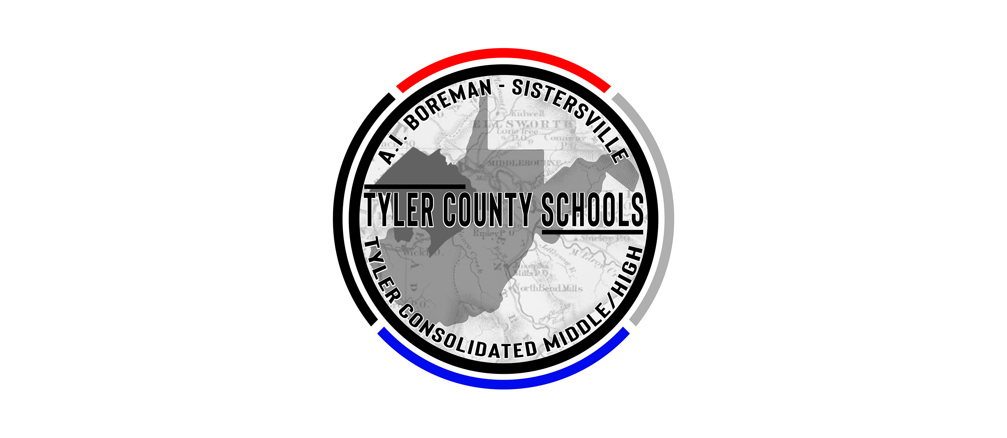 Tyler County Schools seal with map.