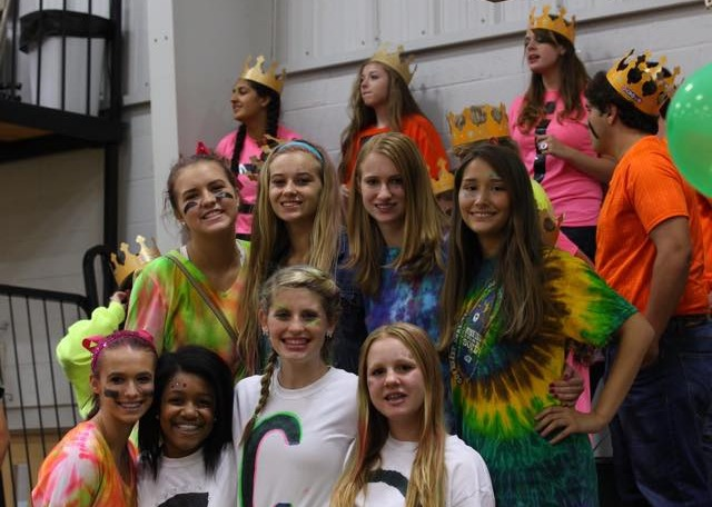 Students at a pep rally