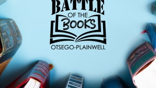 Picture with books in semi-circle with blue background and Battle of the Books in the center