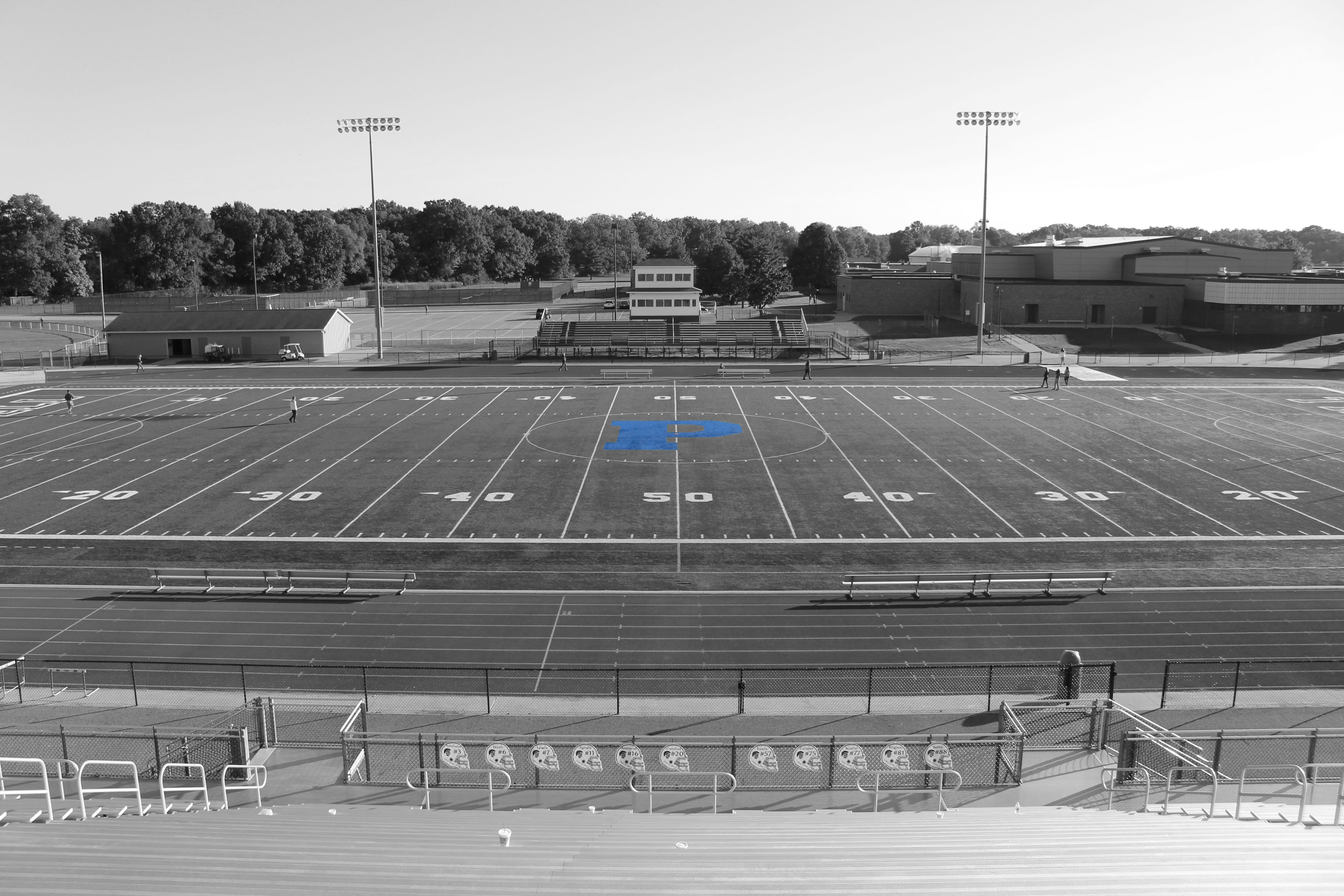 Black and white photo of PHS football field