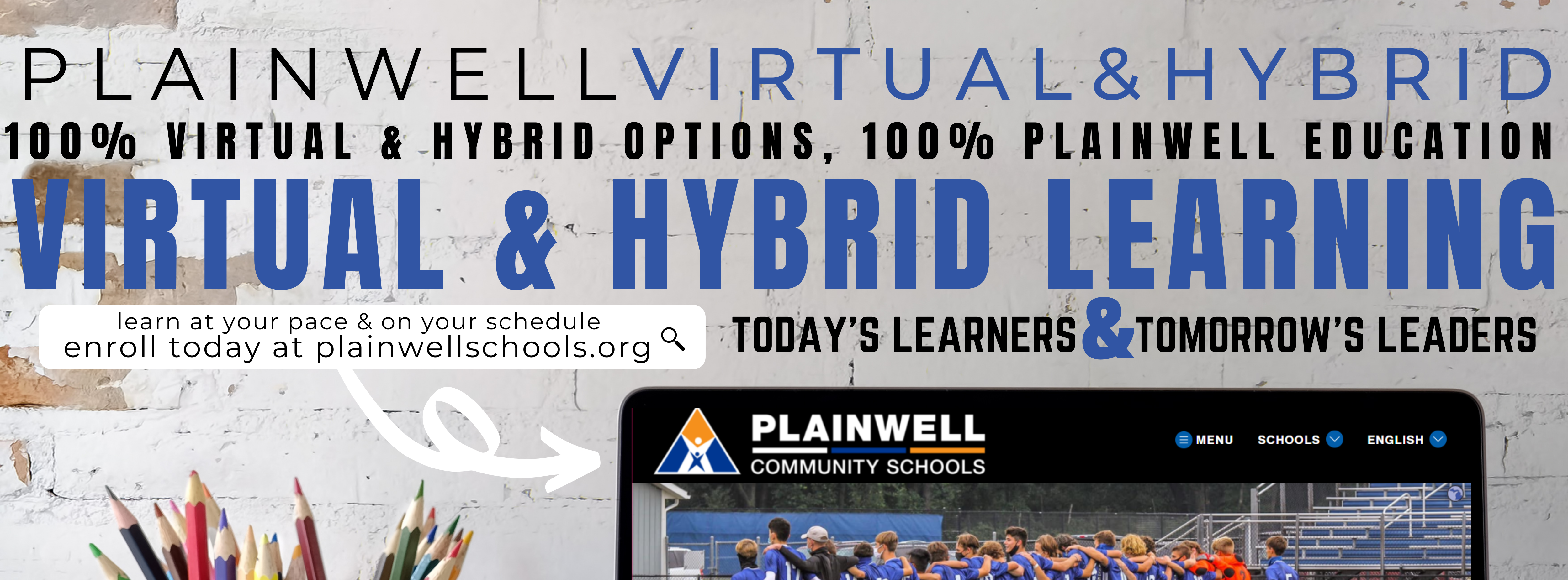 Virtual and hybrid learning banner with picture of laptop and colored pencils