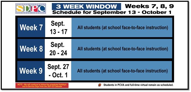 Three week schedule for weeks 7,8, and 9