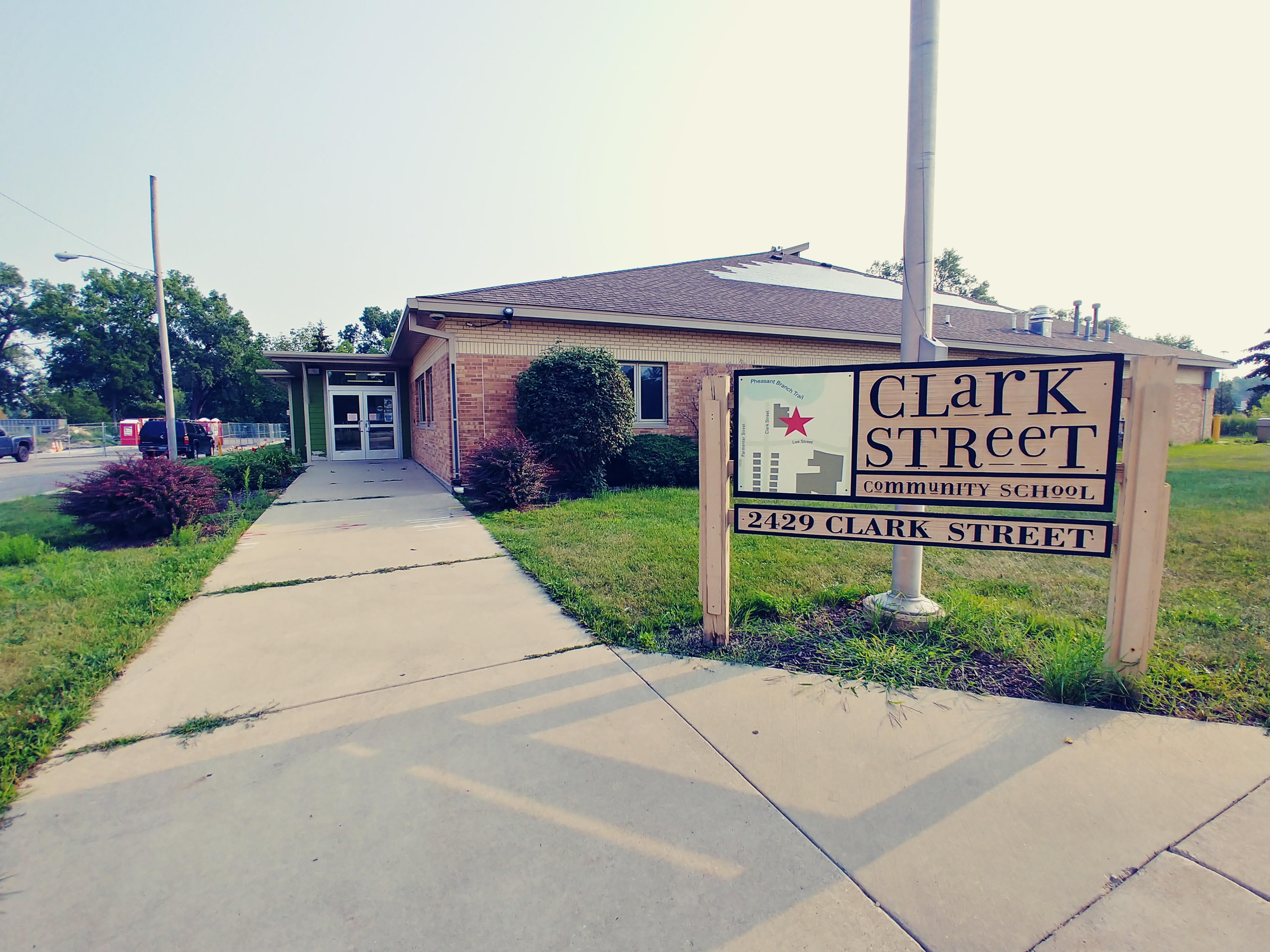 Clark Street Community School sign in front of the school