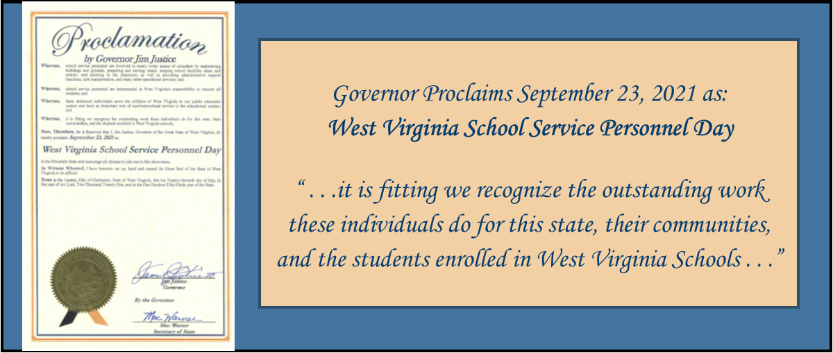 West Virginia School Service Personnel Day - Sept 23 2021