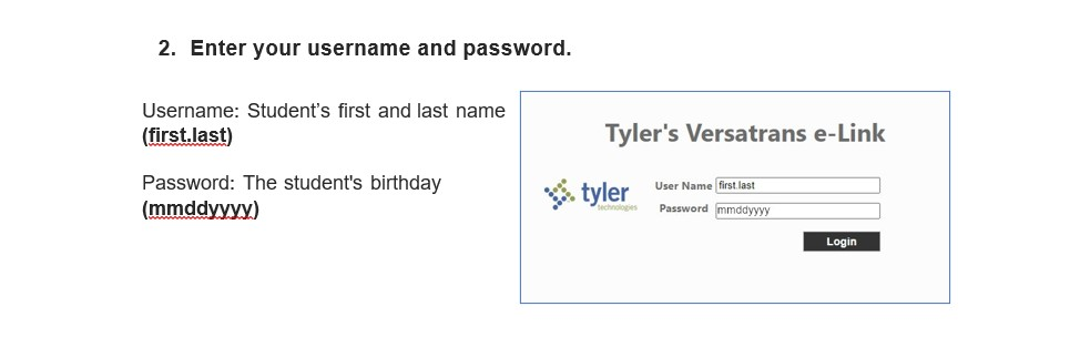 Enter your username and password. Student First and last name and password students birthday