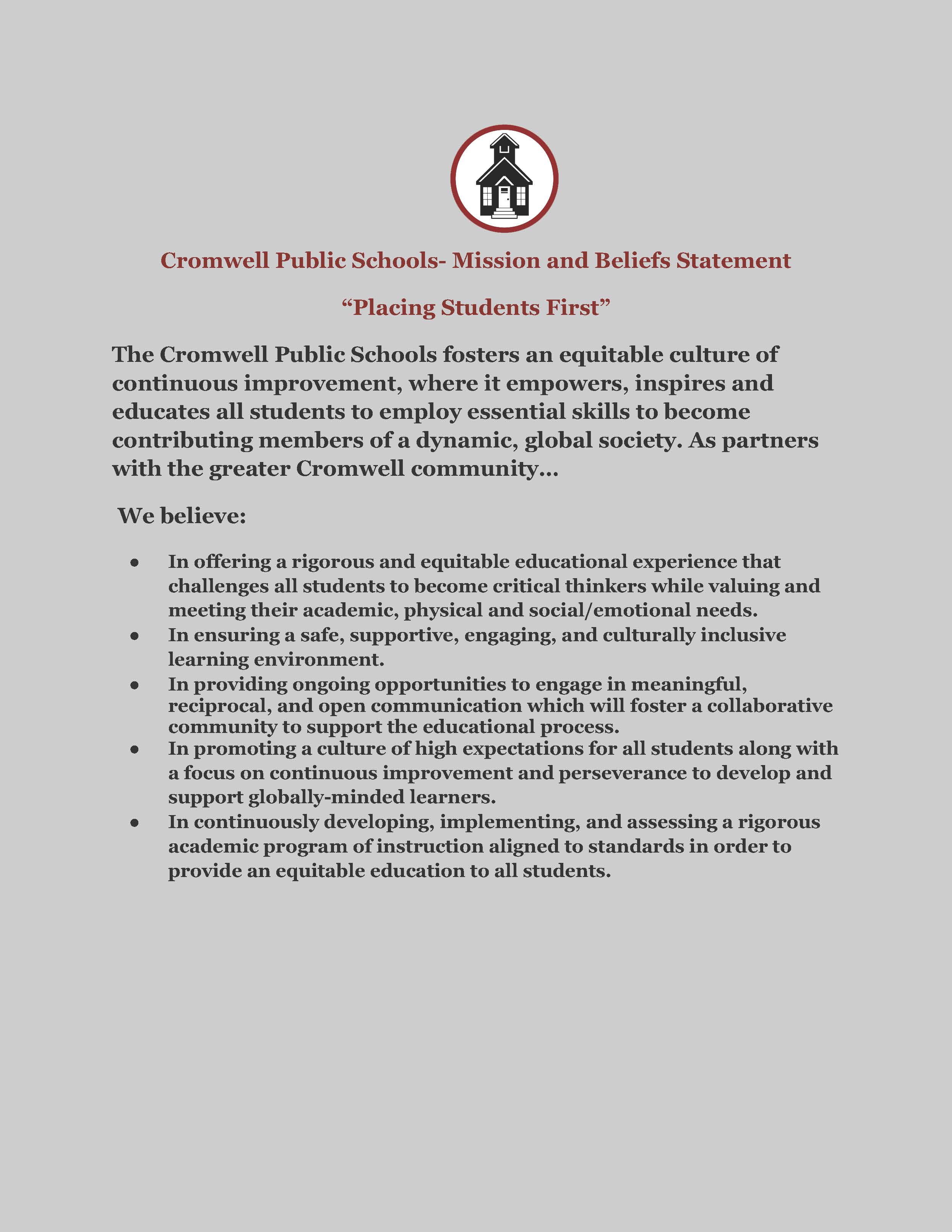 Cromwell Public Schools - Mission and Beliefs Statement