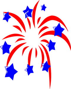 Red Fireworks With Blue Stars