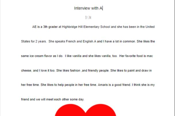 Interview student work