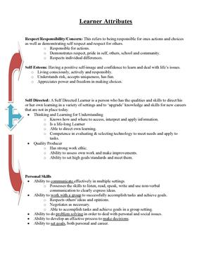 Learner Attributes