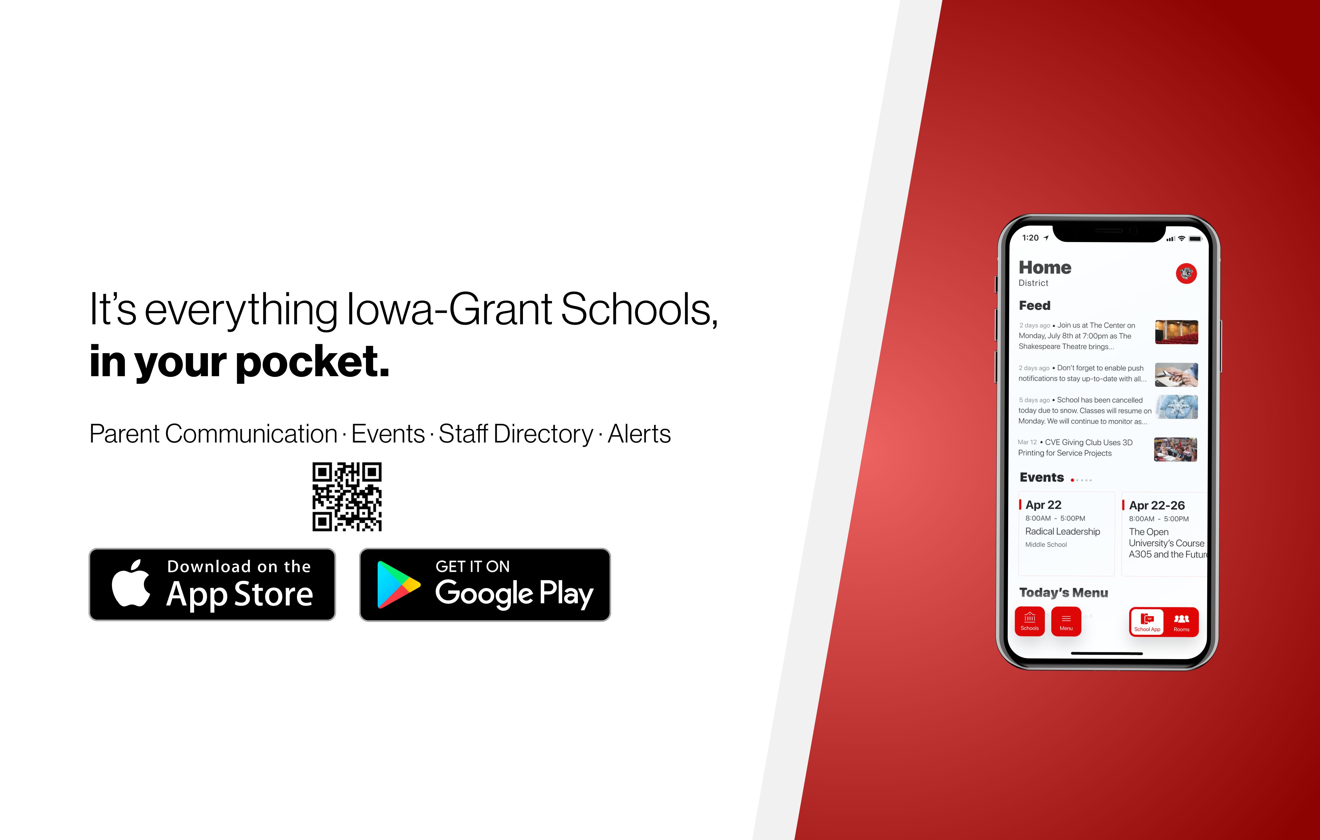 Banner promoting the Iowa-Grant App.