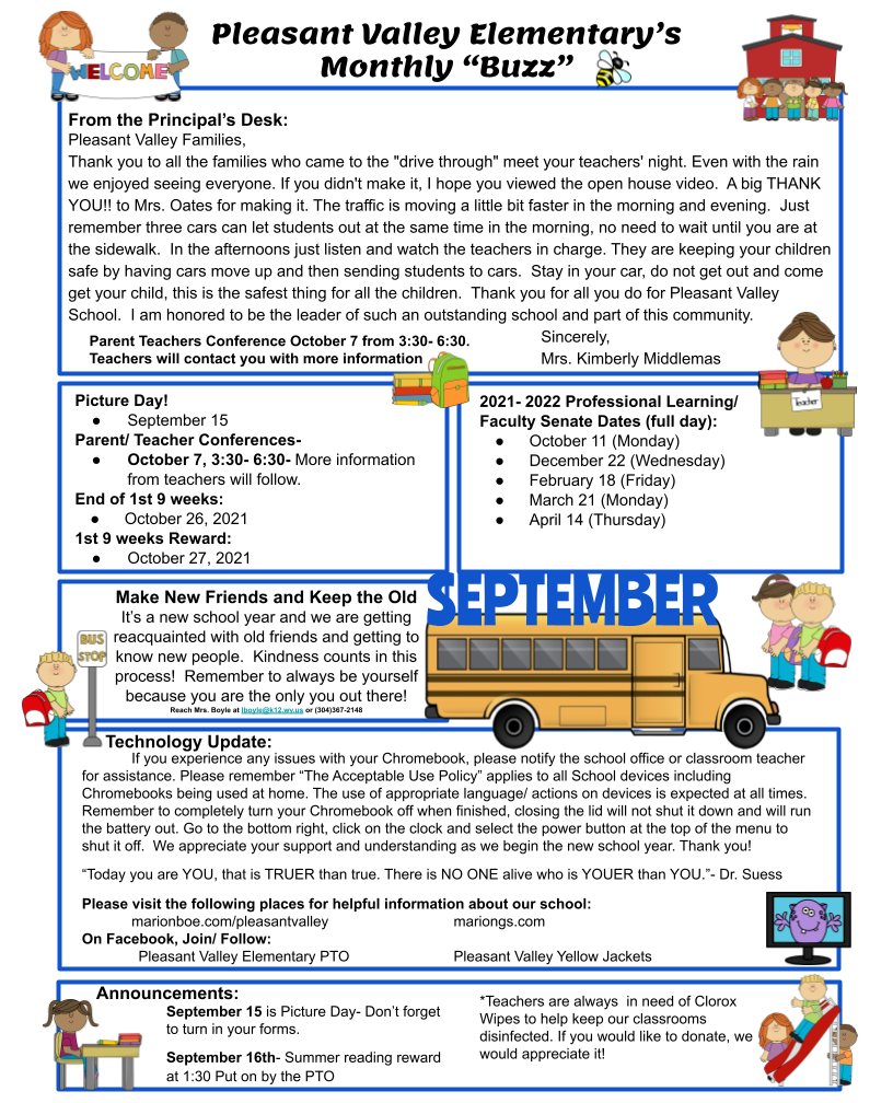 September Newsletter with all of the events happening listed for our students.